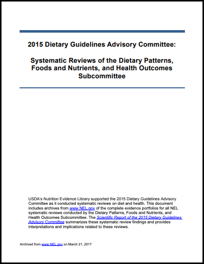 2015 Dietary Patterns, Food and Nutrients, and Health Outcomes