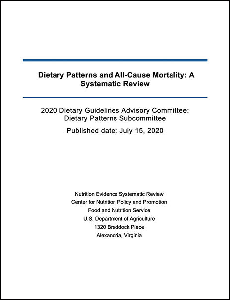cover of relationship between dietary patterns consumed and all-cause mortality report
