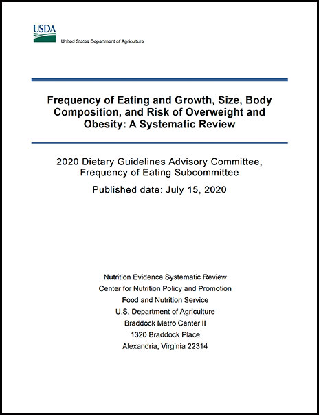 Cover of frequency of eating and growth, size, body composition, and risk of overweight and obesity Report