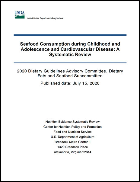 Cover of relationship between seafood consumption during childhood and adolescence (up to 18 years of age) and risk of cardiovascular disease Report